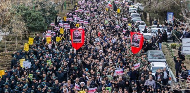 خروش مردم اصفهان در محکومیت شهادت «سردار سلیمانی»